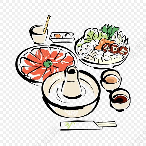 手绘美食火锅素材