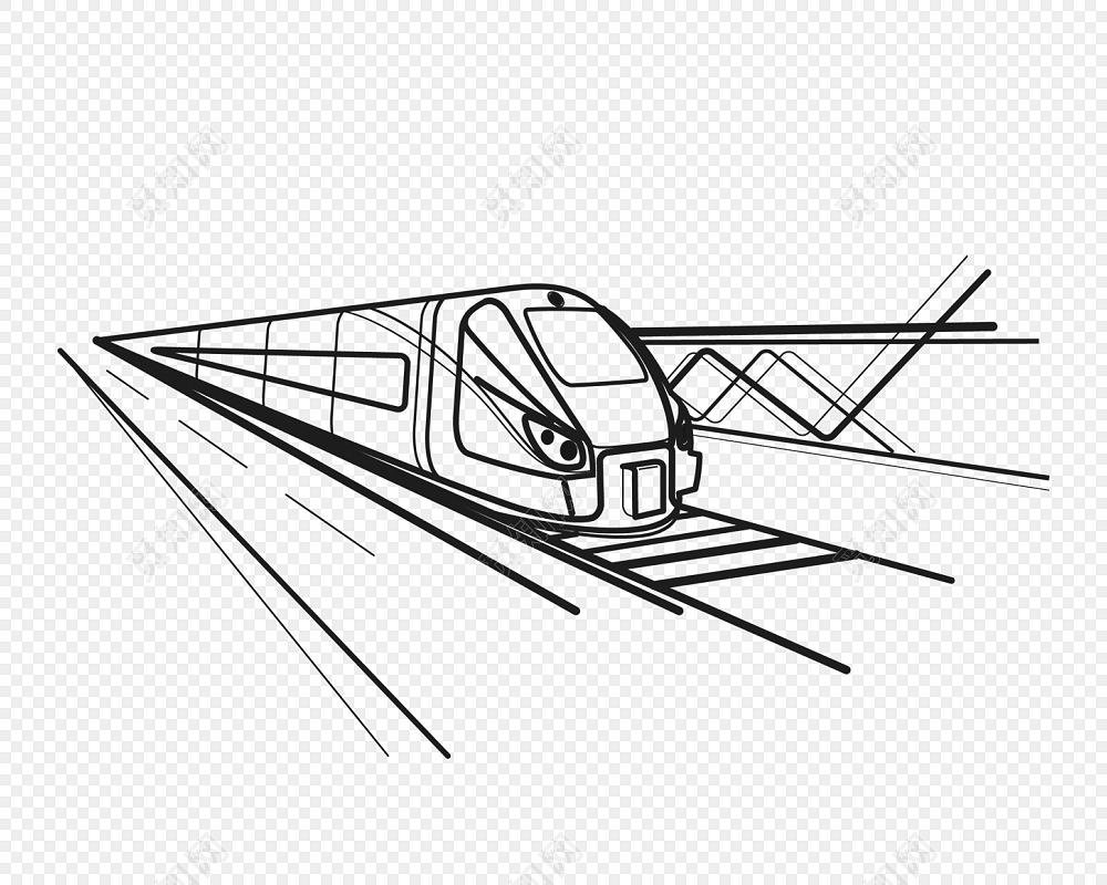 矢量手绘火车列车动车