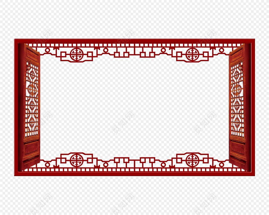 中式古典边框古代古典复古雕花门窗边框中式素材