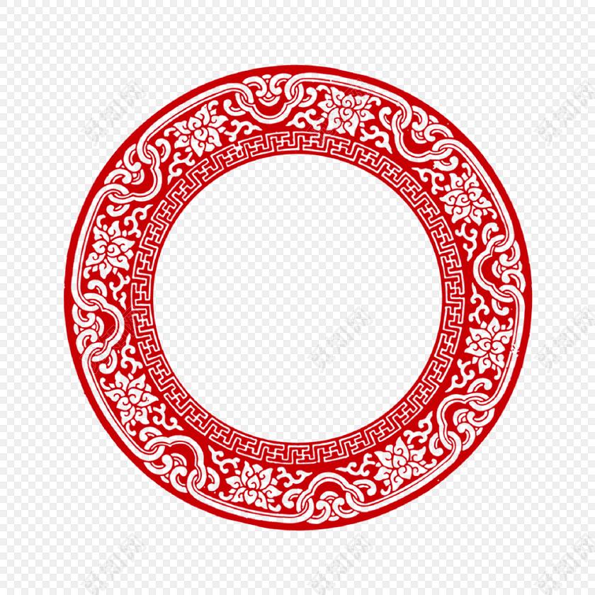 中式中国风祥云红色圆环边框新年回形纹花纹古风圆形框png春节png素材