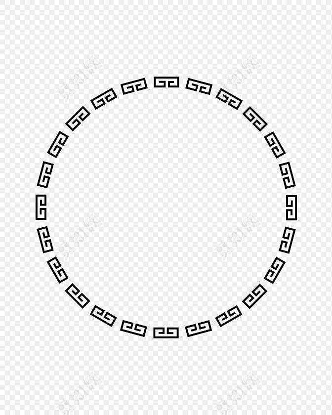 圆环 新年回形纹花纹 古风圆形框png 春节png素材 回纹圆 古风套图