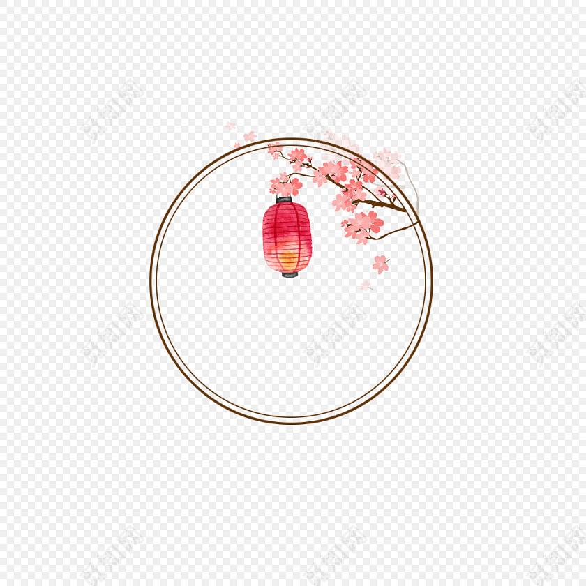 圆环 古风圆形框png 春节png素材 回纹圆 古风套图 灯笼 梅花