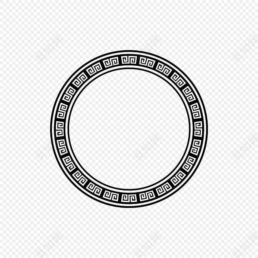 黑色圆环 新年回形纹花纹 古风圆形框png 春节png素材