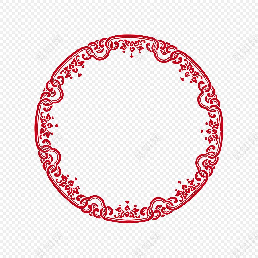 红色圆环 花草花纹 古风圆形框png 春节png素材 古风套图
