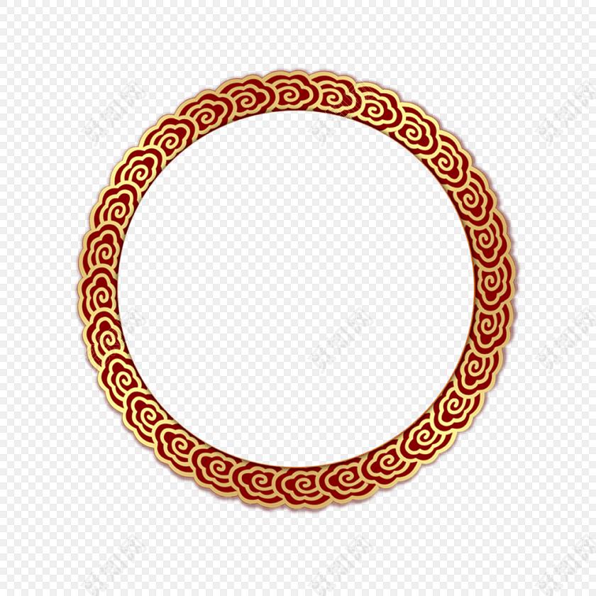 中国风祥云 金色圆环 新年回形纹花纹 古风圆形框png