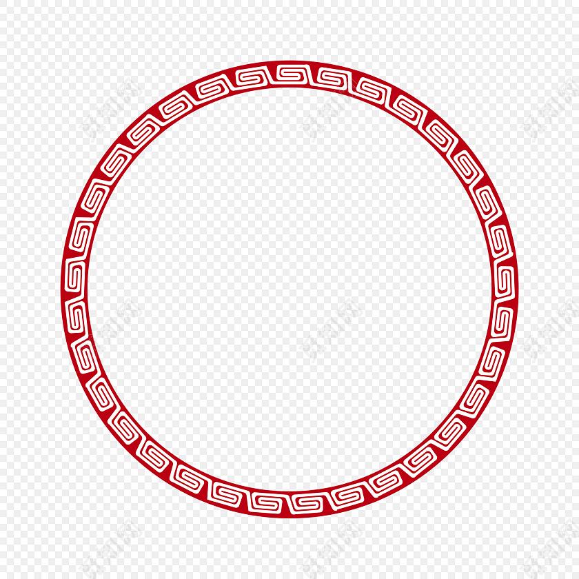 中国风祥云 红色圆环 新年回形纹花纹 古风圆形框png 春节png素材 回
