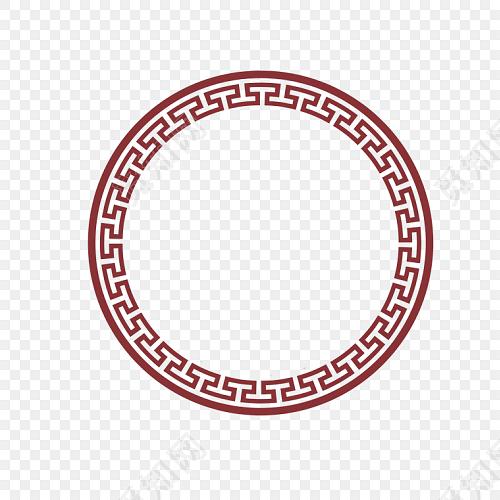 红色圆环 新年回形纹花纹 古风圆形框png 春节png素材