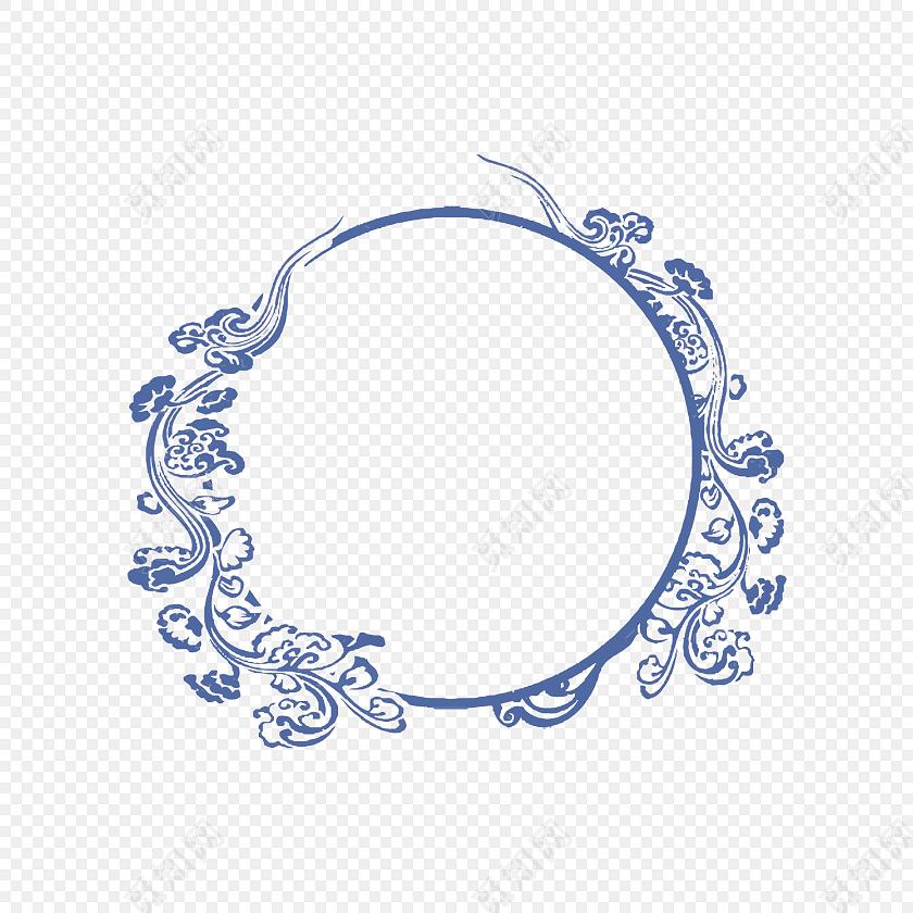 青花瓷花纹图案边框免费下载_png素材_觅知网
