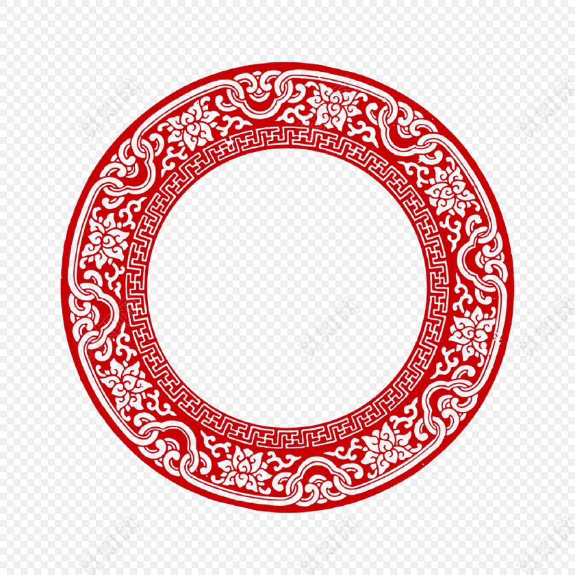 青花瓷 青花环 瓷盘 新年回形纹花纹 古风圆形框png 春节png素材 回纹