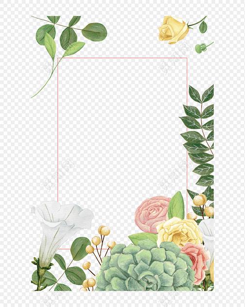 绿色 树叶 小花 花草 花朵 花边 花边 花圈  信纸标签:边框 免抠素材