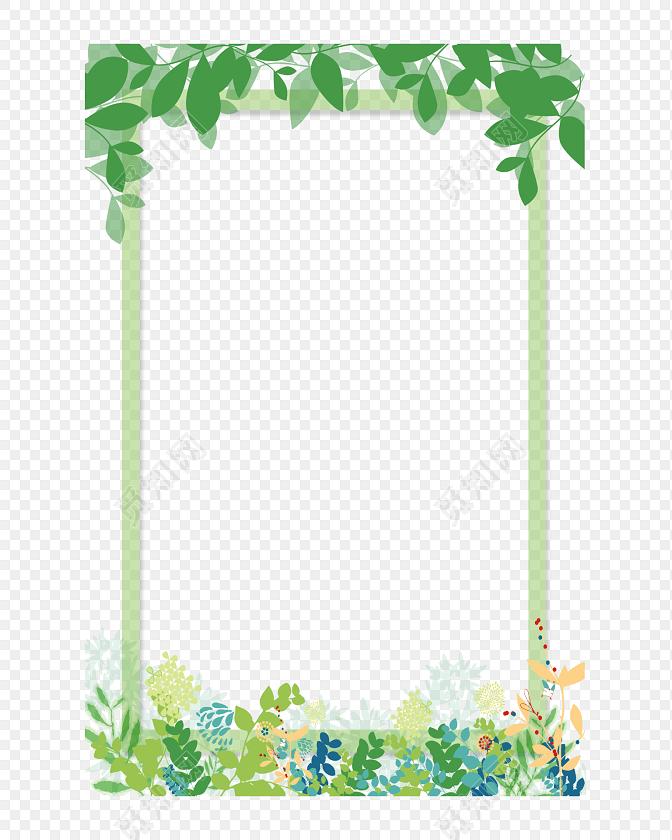 树叶小清新花边边框素材