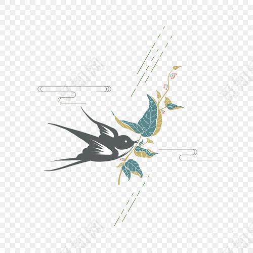 清新手繪燕子設計素材
