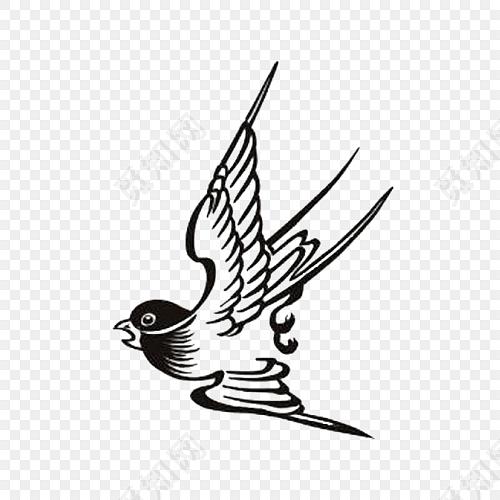 黑白手绘燕子设计素材