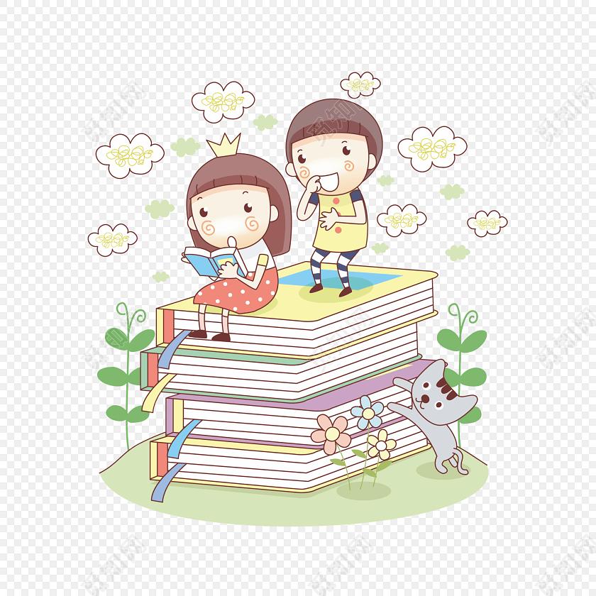 可爱儿童看书学习读书矢量素材