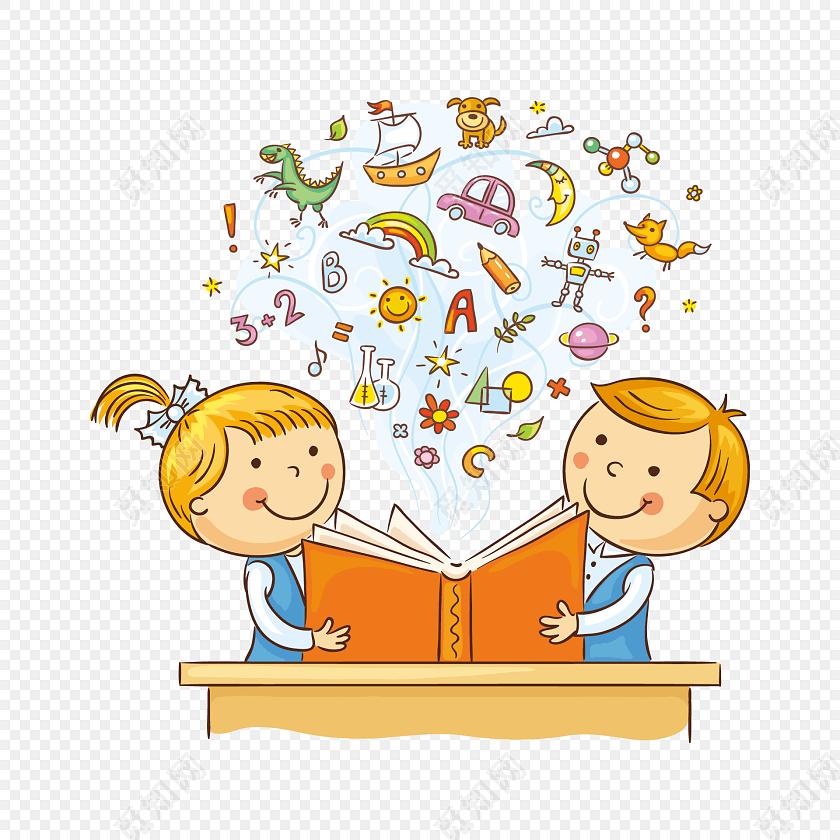 可爱儿童阅读思考矢量素材
