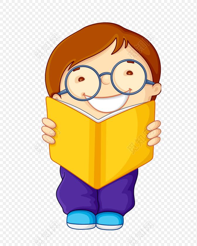 卡通可爱戴眼镜小男孩儿童看书素材