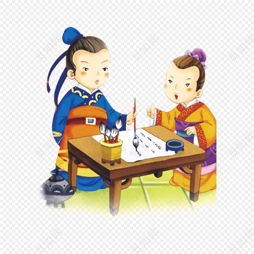 教师节卡通古代儿童男子写字矢量素材图片