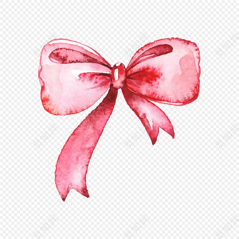 红色水彩手绘飘带素材装饰元素蝴蝶结