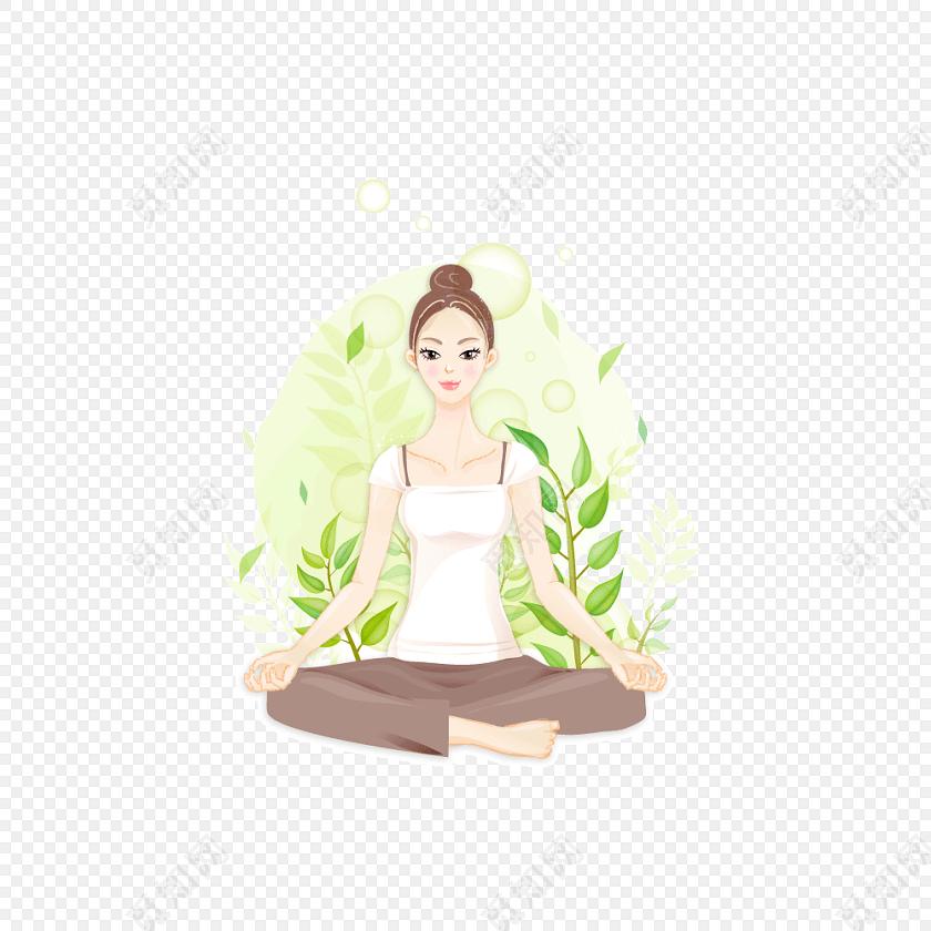 瑜伽少女手绘卡通元素