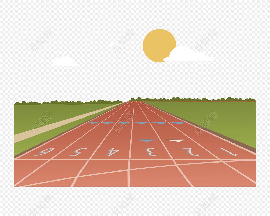 红色卡通跑道运动会跑步素材图片