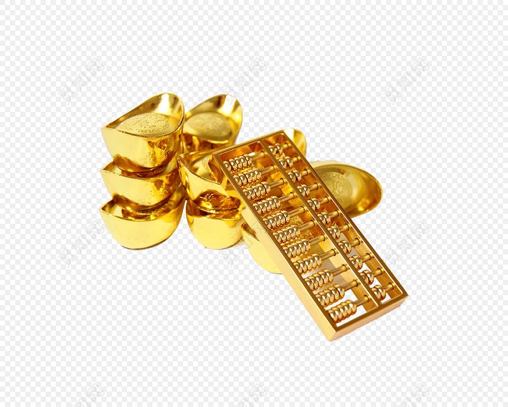 金色算盘元宝素材