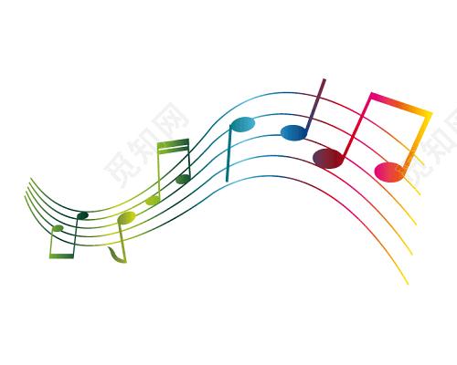 彩色音符五线谱矢量素材