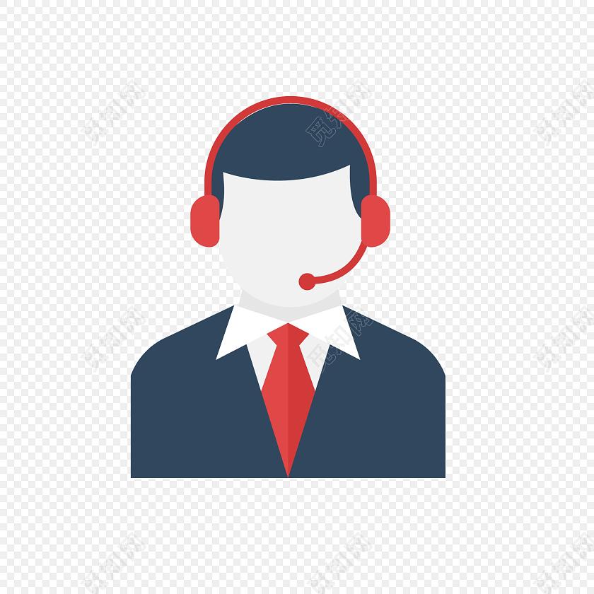 矢量卡通电话商务客服工作人员元素