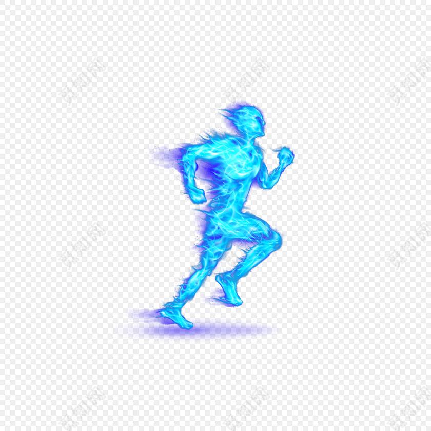 奔跑人物剪影矢量素材