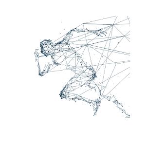 幾何線條科技感人物跑步剪影矢量元素