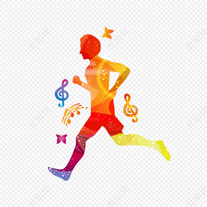 水彩渐变人物剪影跑步运动会素材