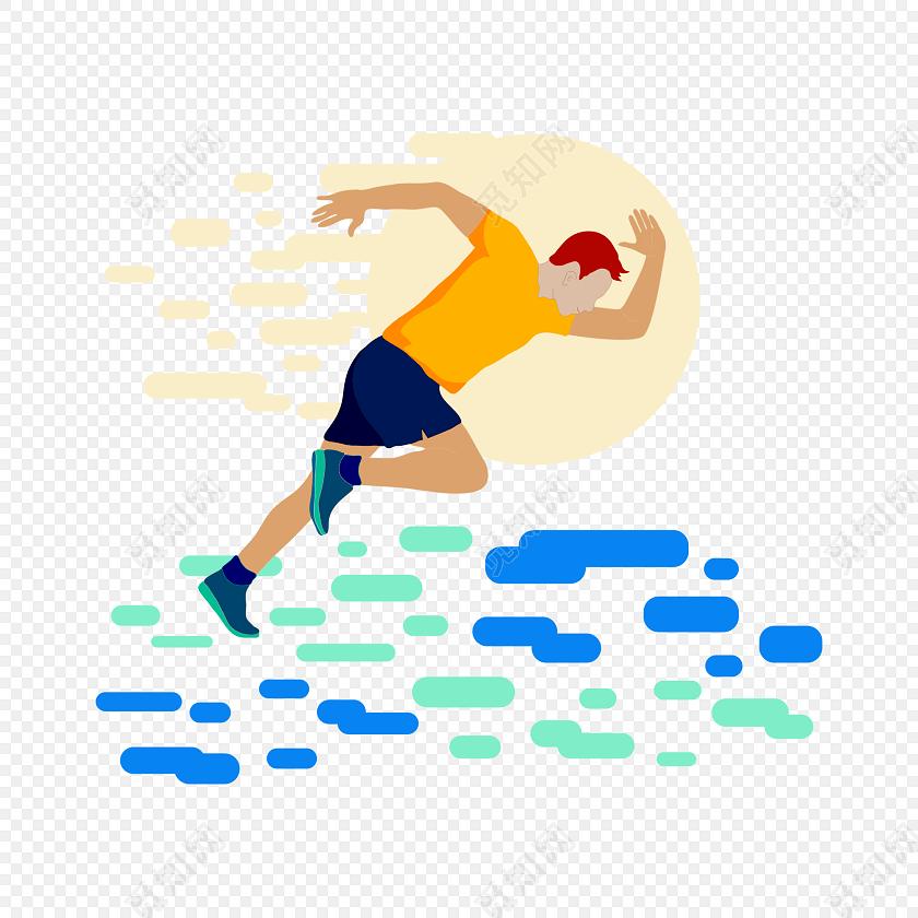 跑步人物剪影矢量运动会素材
