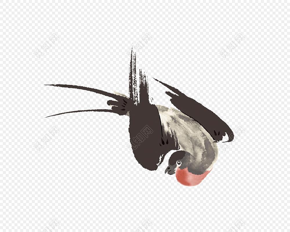 彩色手绘燕子古风插画