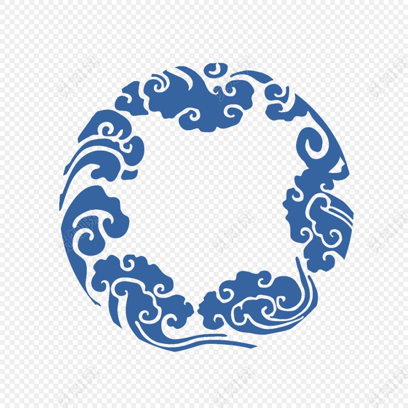 蓝色祥云边框古风素材