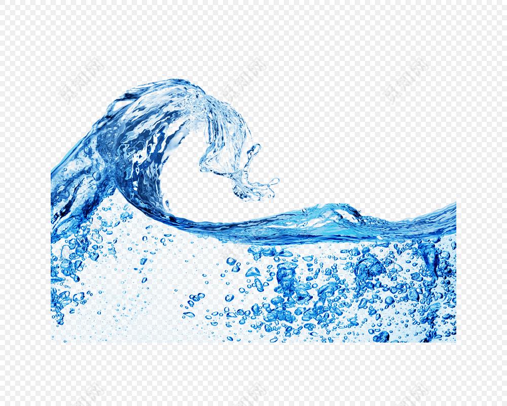 夏日冰爽海浪波浪气泡免抠素材