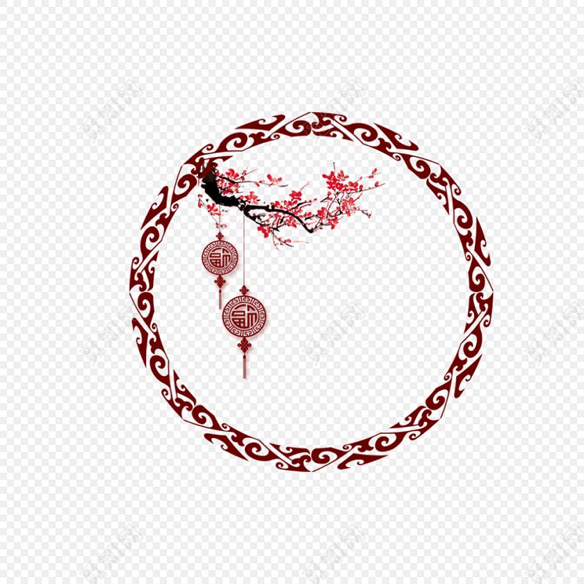 古典中式边框古风梅花元素花纹圆形边框