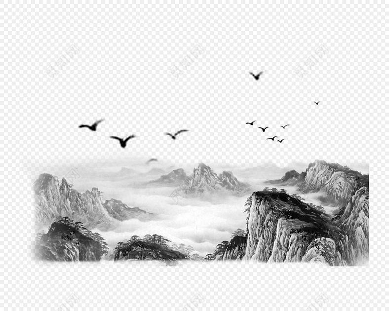 水墨山水飞鸟画