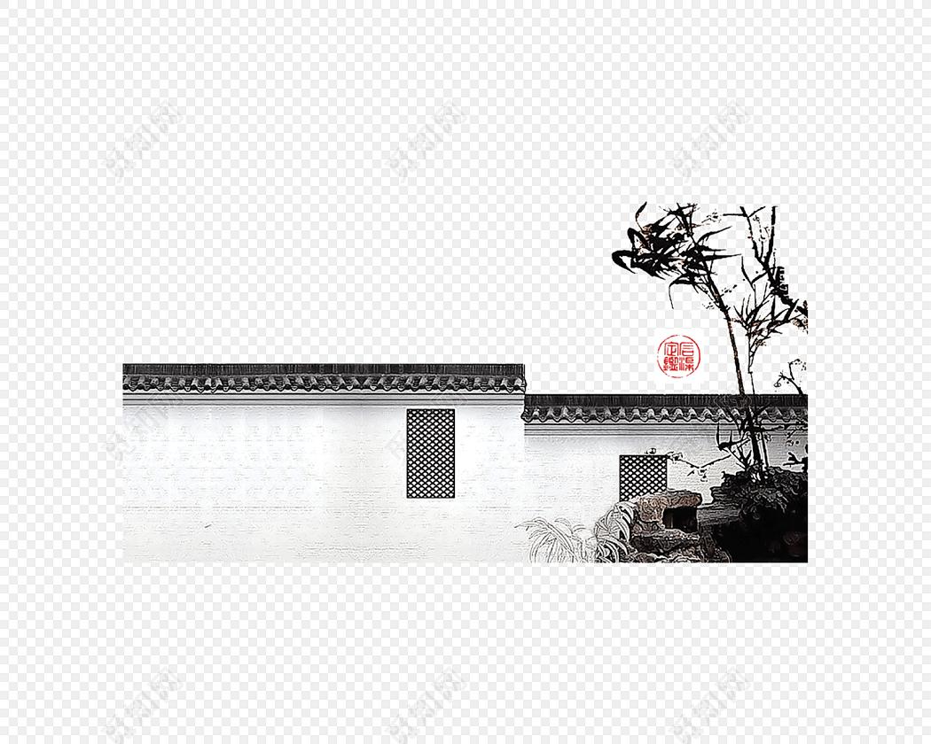 手绘白墙黑瓦中式建筑