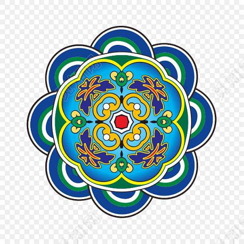 中国风祥云底纹藏式蒙古花纹
