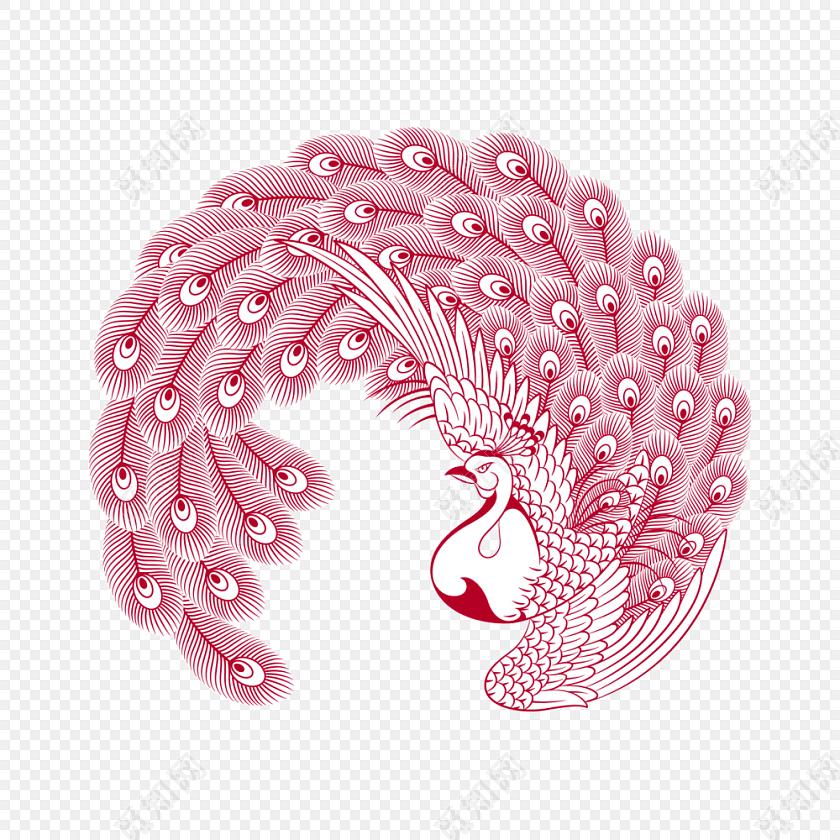 手绘红色孔雀插画素材