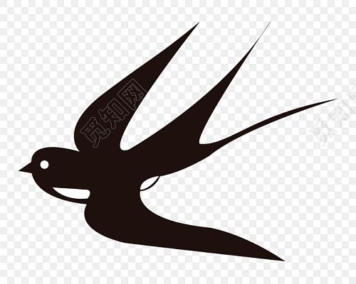黑白卡通手绘燕子设计素材