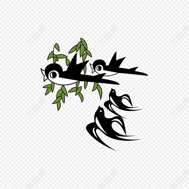 手绘黑白燕子绿叶设计素材