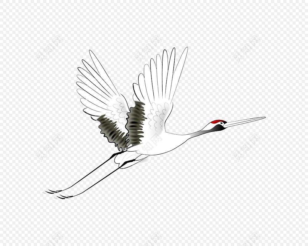 手绘古风丹顶鹤设计素材