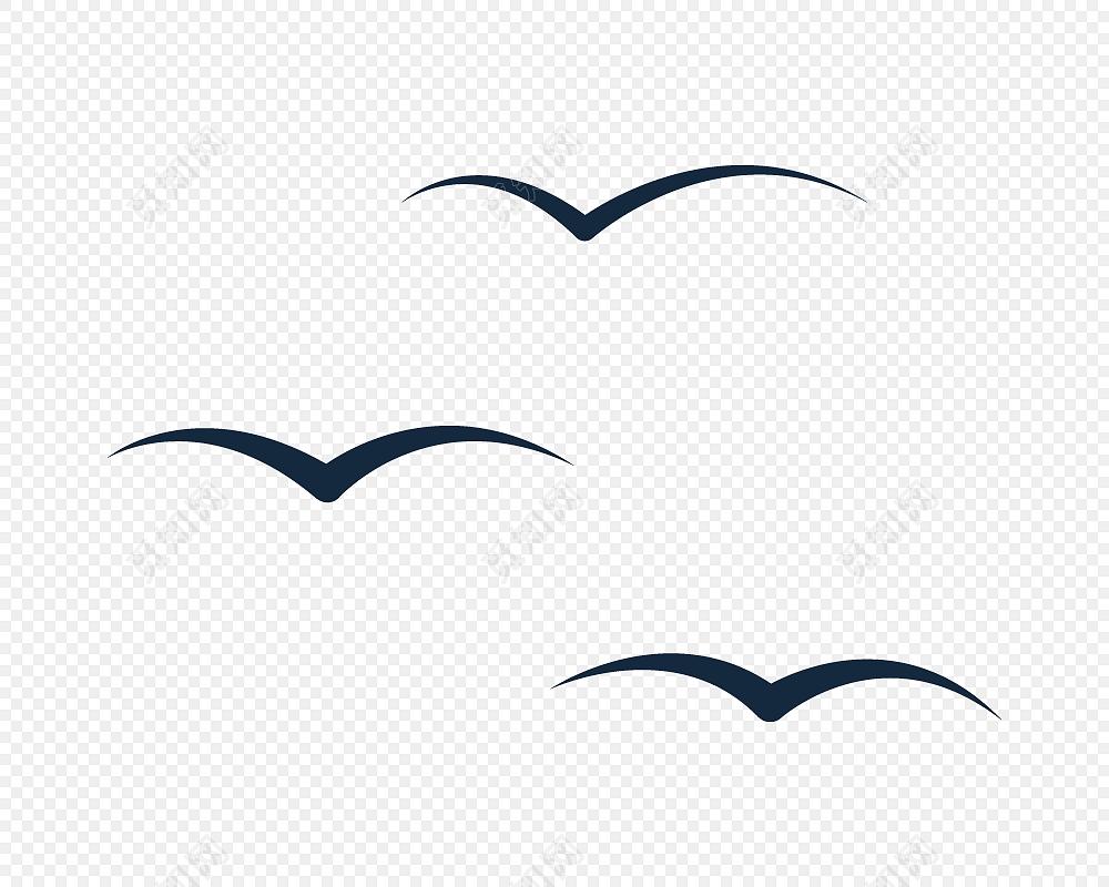 黑色卡通飞鸟剪影设计素材
