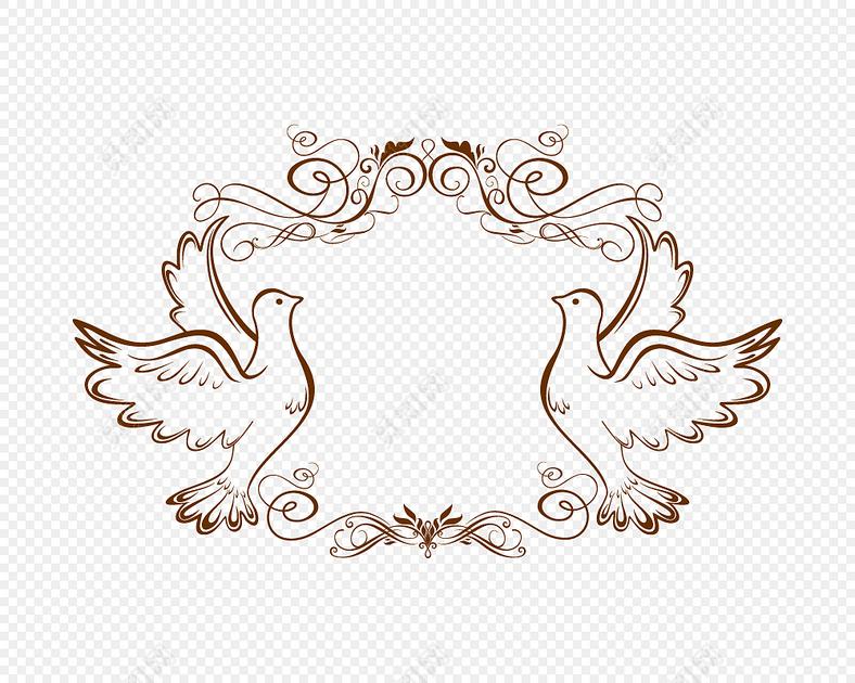 线描鸽子边框设计素材