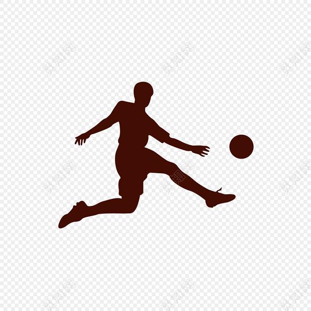 卡通人物踢足球剪影