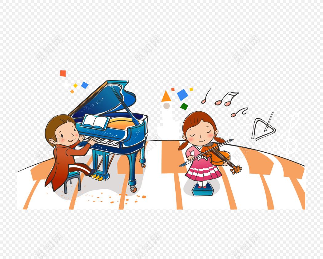 卡通人物演奏乐器钢琴音乐素材