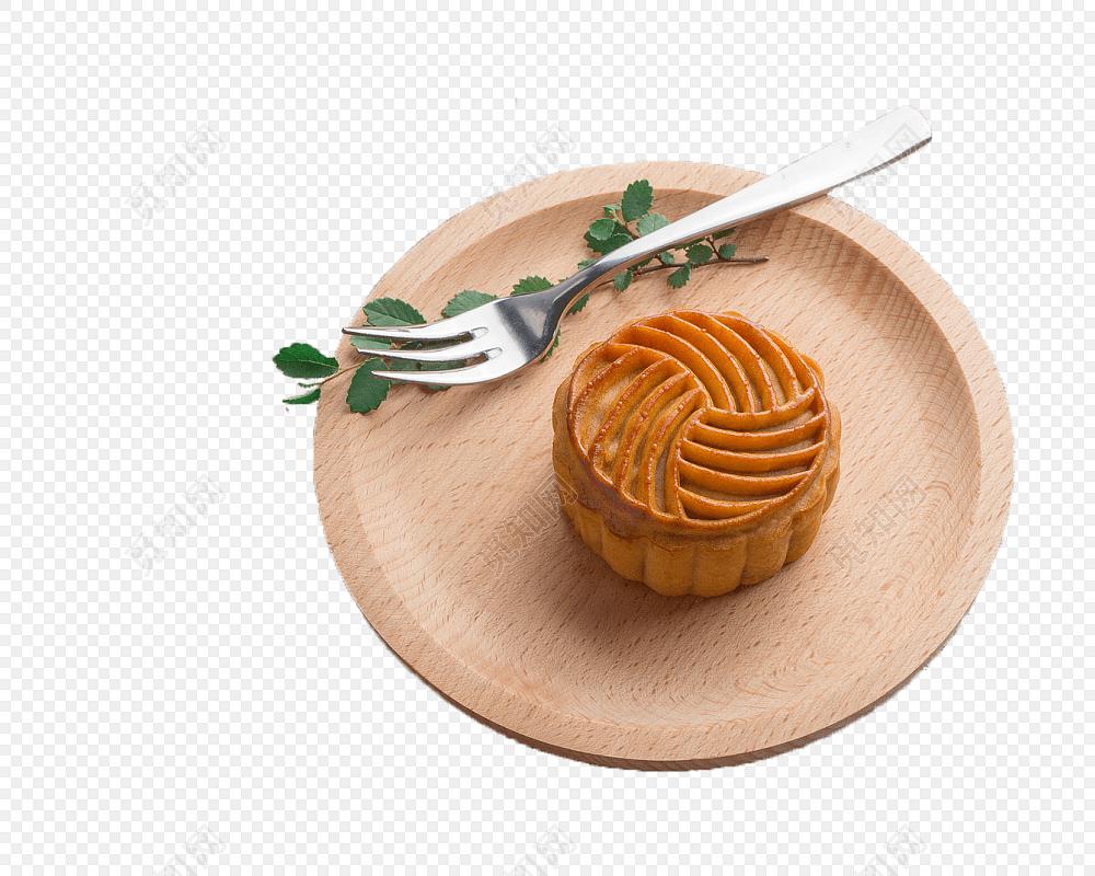盘子叉子月饼矢量