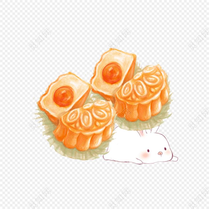 手绘月饼玉兔中秋节卡通兔子素材