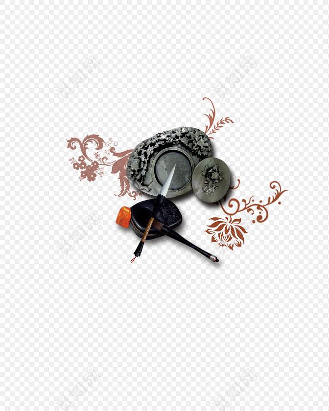 花卉底纹笔墨砚台素材