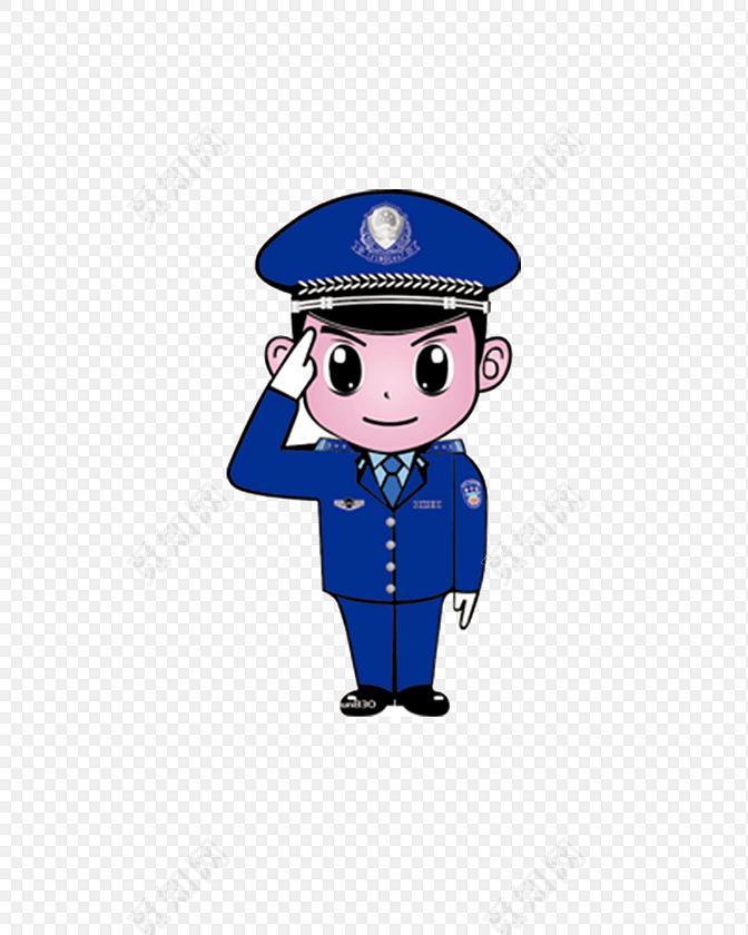 卡通穿蓝色制服敬礼的警察矢量素材